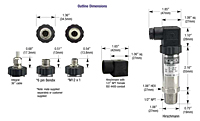 625-626 Series Transmitters Dimensions